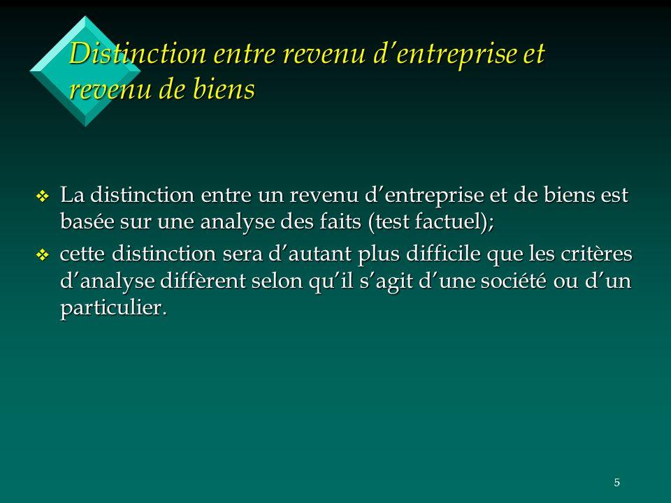 5 Distinction entre revenu dentreprise et revenu de biens v La distinction entre un revenu dentreprise et de biens est basée sur une analyse des faits