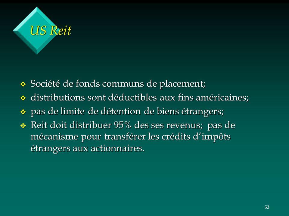 53 US Reit v Société de fonds communs de placement; v distributions sont déductibles aux fins américaines; v pas de limite de détention de biens étran