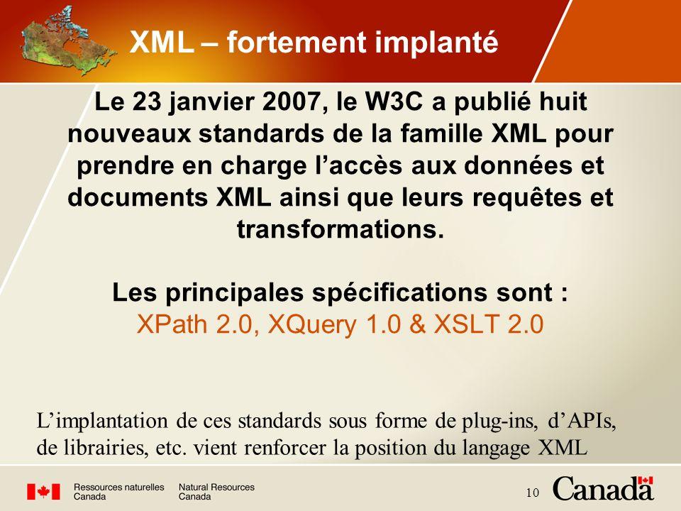 10 Le 23 janvier 2007, le W3C a publié huit nouveaux standards de la famille XML pour prendre en charge laccès aux données et documents XML ainsi que
