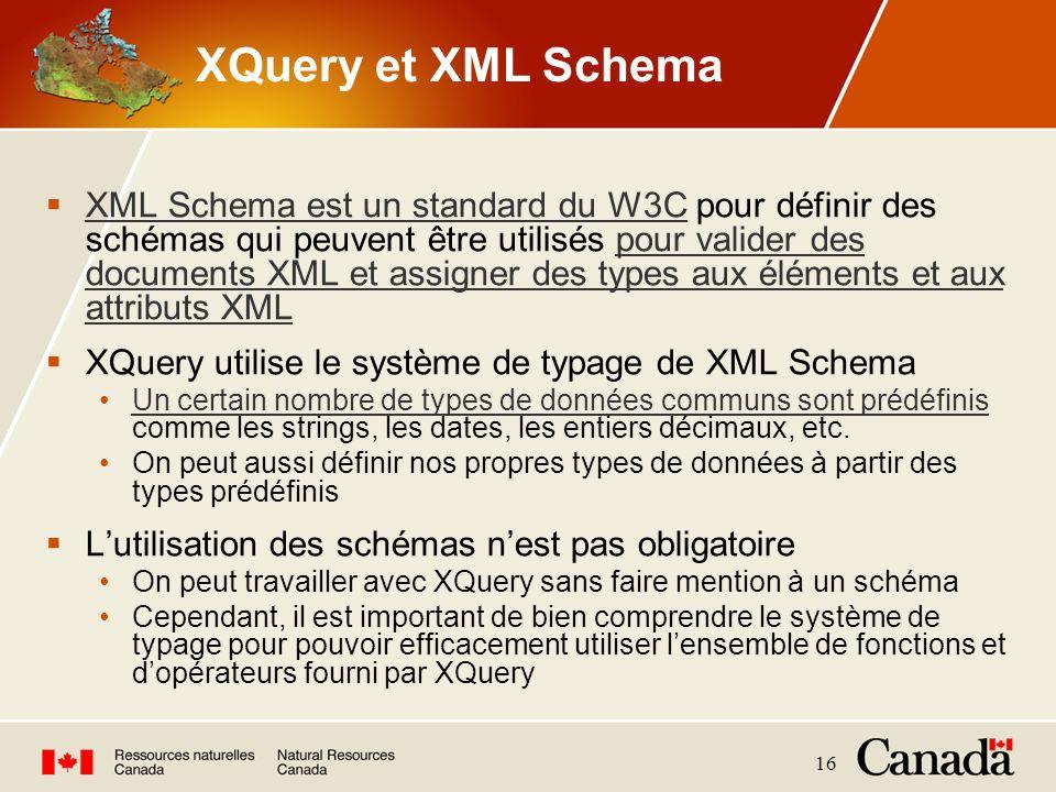 16 XQuery et XML Schema XML Schema est un standard du W3C pour définir des schémas qui peuvent être utilisés pour valider des documents XML et assigne