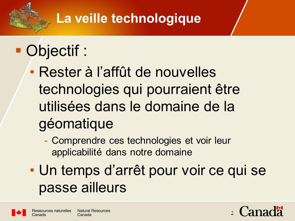 2 La veille technologique Objectif : Rester à laffût de nouvelles technologies qui pourraient être utilisées dans le domaine de la géomatique -Compren