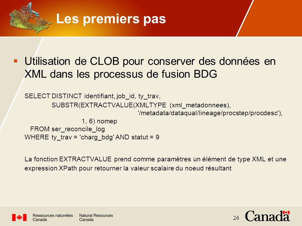 26 Les premiers pas Utilisation de CLOB pour conserver des données en XML dans les processus de fusion BDG SELECTDISTINCT identifiant, job_id, ty_trav
