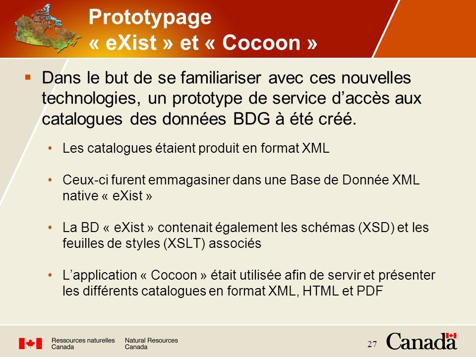 27 Prototypage « eXist » et « Cocoon » Dans le but de se familiariser avec ces nouvelles technologies, un prototype de service daccès aux catalogues d