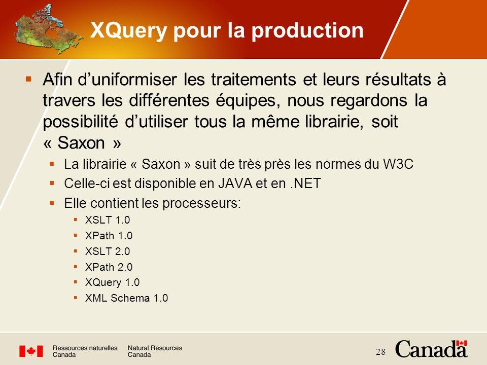 28 XQuery pour la production Afin duniformiser les traitements et leurs résultats à travers les différentes équipes, nous regardons la possibilité dut