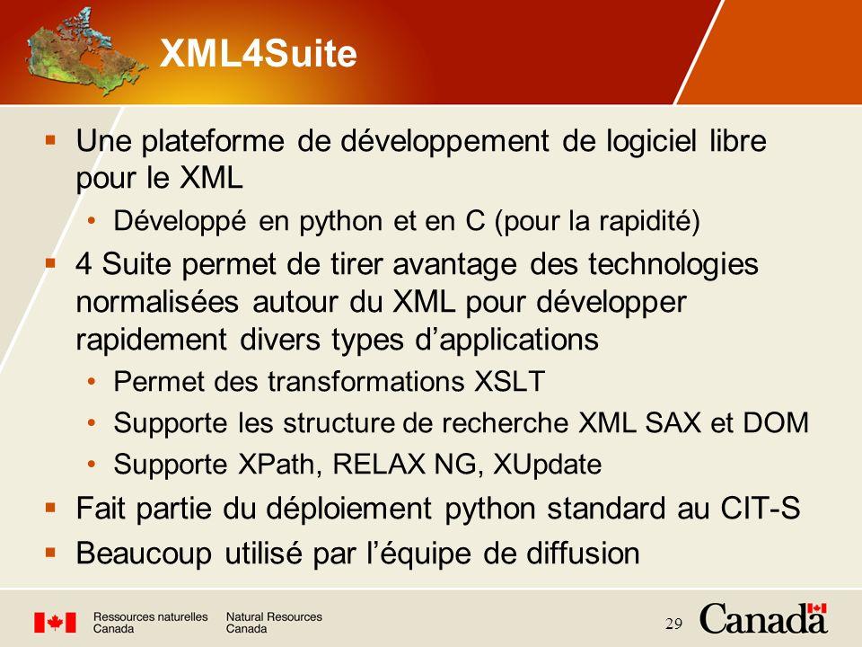 29 XML4Suite Une plateforme de développement de logiciel libre pour le XML Développé en python et en C (pour la rapidité) 4 Suite permet de tirer avan