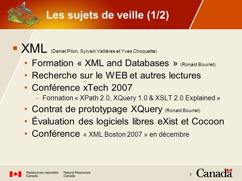 3 Les sujets de veille (1/2) XML (Daniel Pilon, Sylvain Vallières et Yves Choquette) Formation « XML and Databases » (Ronald Bourret) Recherche sur le