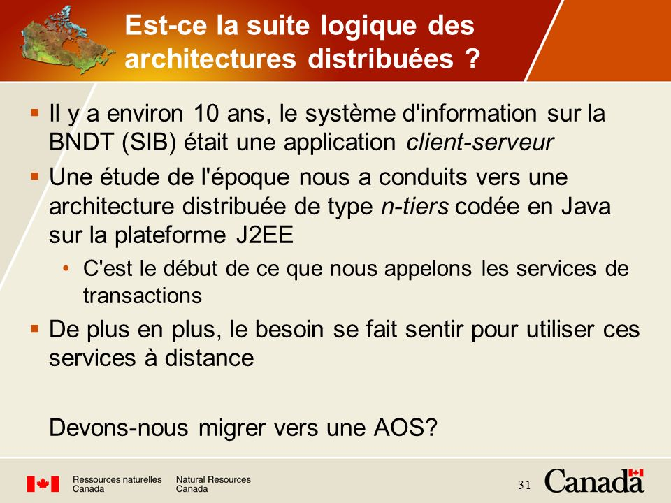 31 Est-ce la suite logique des architectures distribuées ? Il y a environ 10 ans, le système d'information sur la BNDT (SIB) était une application cli
