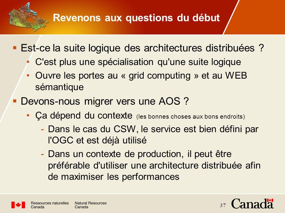 37 Revenons aux questions du début Est-ce la suite logique des architectures distribuées ? C'est plus une spécialisation qu'une suite logique Ouvre le