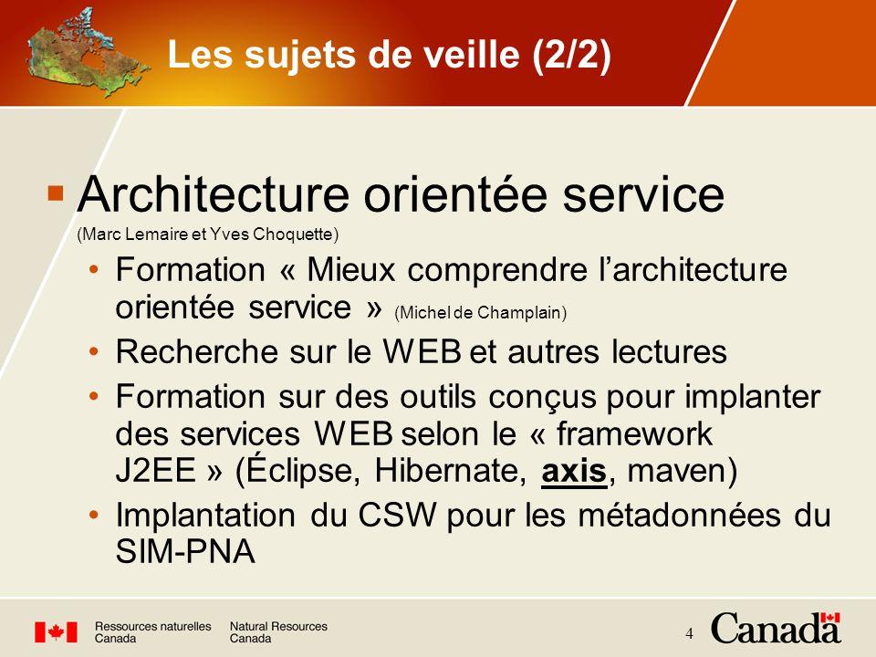 4 Les sujets de veille (2/2) Architecture orientée service (Marc Lemaire et Yves Choquette) Formation « Mieux comprendre larchitecture orientée servic