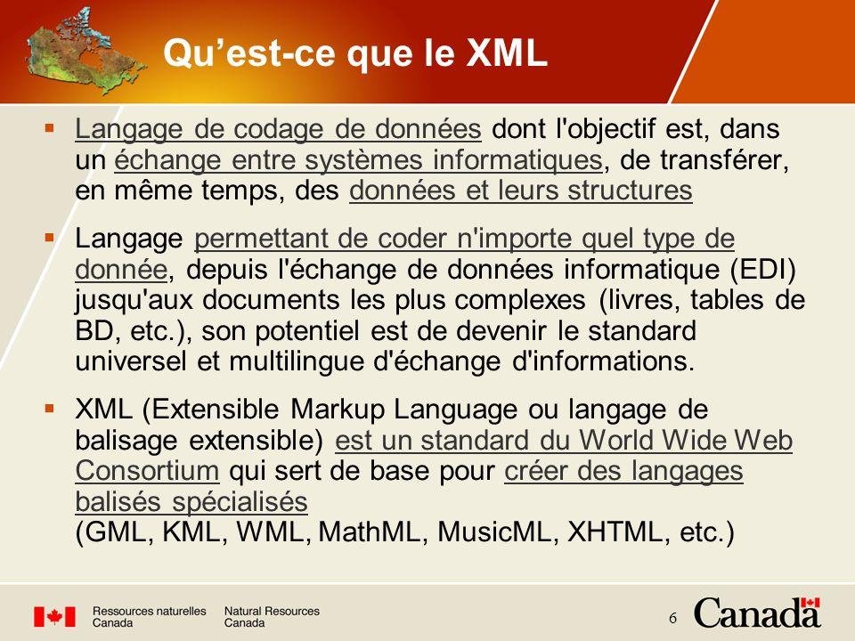 6 Quest-ce que le XML Langage de codage de données dont l'objectif est, dans un échange entre systèmes informatiques, de transférer, en même temps, de