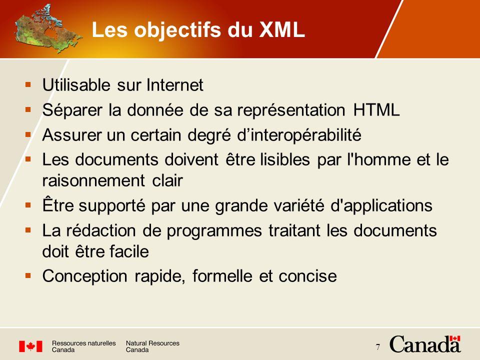 7 Les objectifs du XML Utilisable sur Internet Séparer la donnée de sa représentation HTML Assurer un certain degré dinteropérabilité Les documents do
