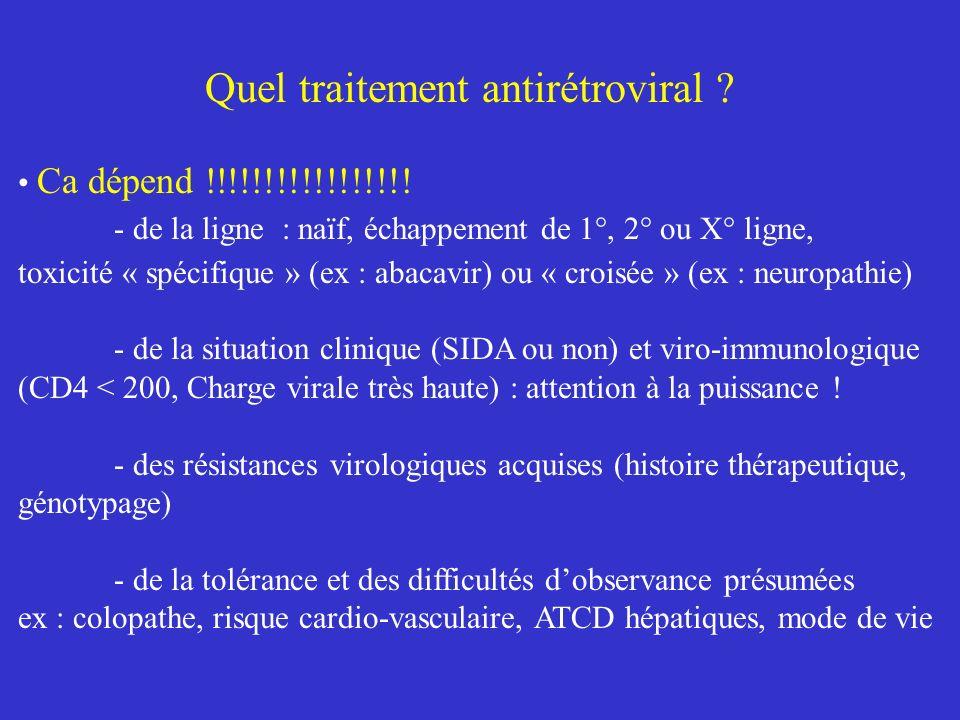 Quel traitement antirétroviral ? Ca dépend !!!!!!!!!!!!!!!!! - de la ligne : naïf, échappement de 1°, 2° ou X° ligne, toxicité « spécifique » (ex : ab