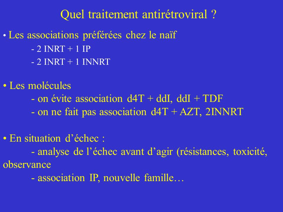Quel traitement antirétroviral .