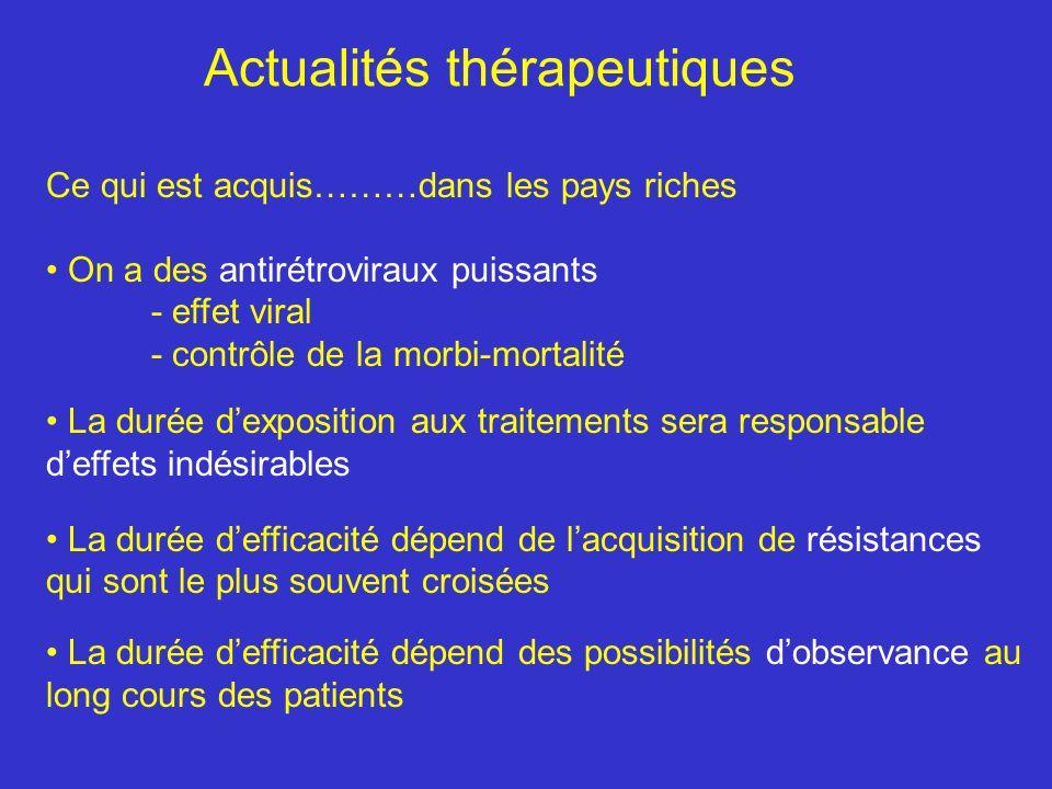 Actualités thérapeutiques Ce qui est acquis………dans les pays riches On a des antirétroviraux puissants - effet viral - contrôle de la morbi-mortalité L