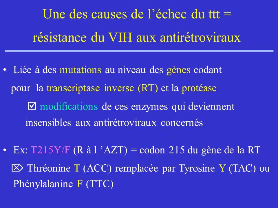 Une des causes de léchec du ttt = résistance du VIH aux antirétroviraux Liée à des mutations au niveau des gènes codant pour la transcriptase inverse (RT) et la protéase modifications de ces enzymes qui deviennent insensibles aux antirétroviraux concernés Ex: T215Y/F (R à l AZT) = codon 215 du gène de la RT Thréonine T (ACC) remplacée par Tyrosine Y (TAC) ou Phénylalanine F (TTC)