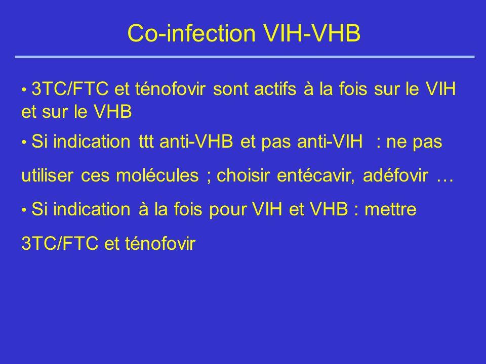 Co-infection VIH-VHB 3TC/FTC et ténofovir sont actifs à la fois sur le VIH et sur le VHB Si indication ttt anti-VHB et pas anti-VIH : ne pas utiliser ces molécules ; choisir entécavir, adéfovir … Si indication à la fois pour VIH et VHB : mettre 3TC/FTC et ténofovir