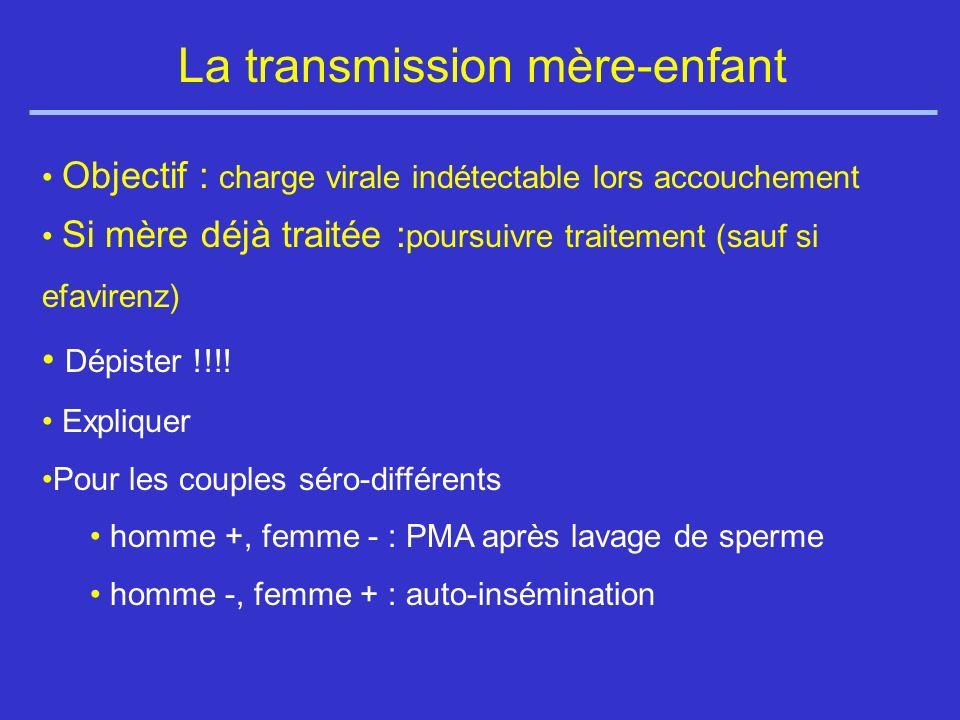 La transmission mère-enfant Objectif : charge virale indétectable lors accouchement Si mère déjà traitée : poursuivre traitement (sauf si efavirenz) Dépister !!!.