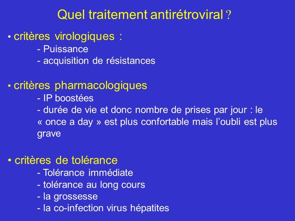 Quel traitement antirétroviral ? critères virologiques : - Puissance - acquisition de résistances critères pharmacologiques - IP boostées - durée de v