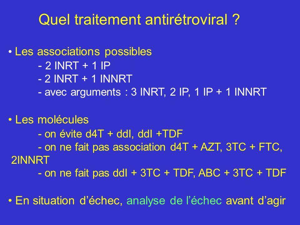 La lipodystrophie Les INRT sont en grande partie responsables de la lipoatrophie d4T et AZT sont plus toxiques et d4T beaucoup plus que AZT Lassociation IP et INRT favorisent la lipo-atrophie et la lipo- hypertrophie In vitro, lefavirenz induit aussi des anomalies du tissu adipeux La lipodystrophie existe chez lhomme, la femme et les enfants