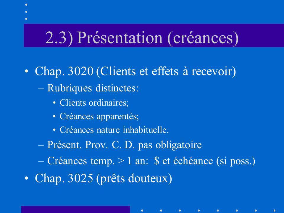 2.3) Présentation (créances) Chap. 3020 (Clients et effets à recevoir) –Rubriques distinctes: Clients ordinaires; Créances apparentés; Créances nature