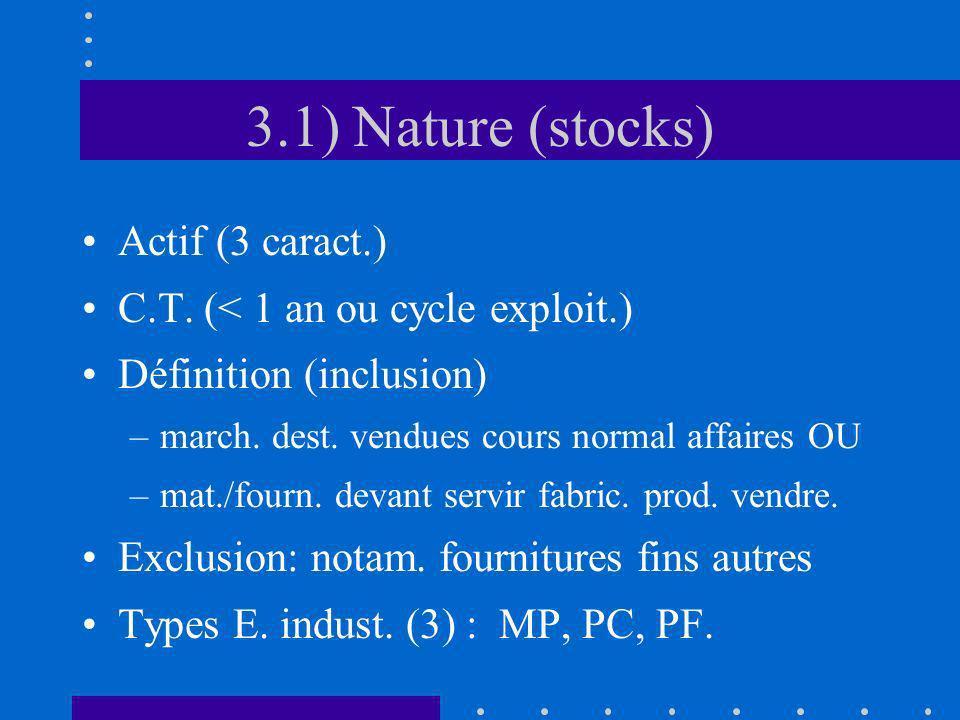 3.1) Nature (stocks) Actif (3 caract.) C.T. (< 1 an ou cycle exploit.) Définition (inclusion) –march. dest. vendues cours normal affaires OU –mat./fou