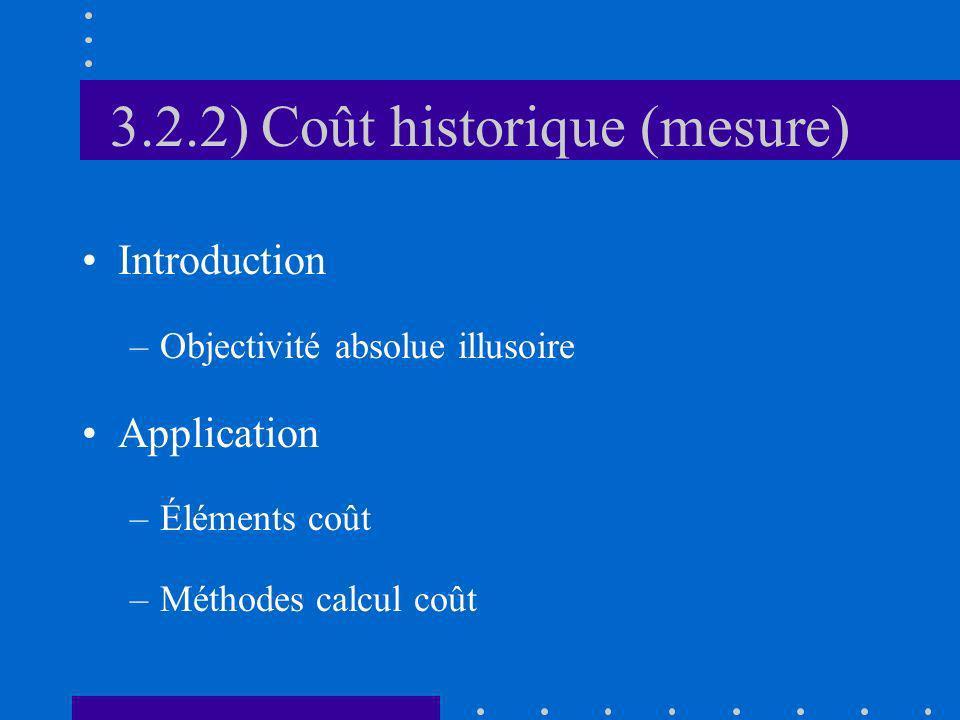 3.2.2) Coût historique (mesure) Introduction –Objectivité absolue illusoire Application –Éléments coût –Méthodes calcul coût