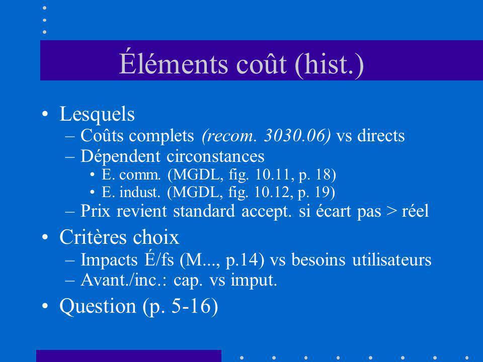 Éléments coût (hist.) Lesquels –Coûts complets (recom. 3030.06) vs directs –Dépendent circonstances E. comm. (MGDL, fig. 10.11, p. 18) E. indust. (MGD
