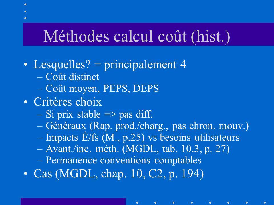 Méthodes calcul coût (hist.) Lesquelles? = principalement 4 –Coût distinct –Coût moyen, PEPS, DEPS Critères choix –Si prix stable => pas diff. –Généra