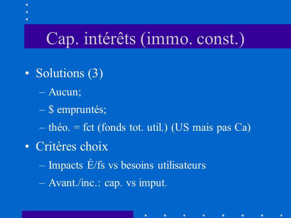 Cap. intérêts (immo. const.) Solutions (3) –Aucun; –$ empruntés; –théo. = fct (fonds tot. util.) (US mais pas Ca) Critères choix –Impacts É/fs vs beso