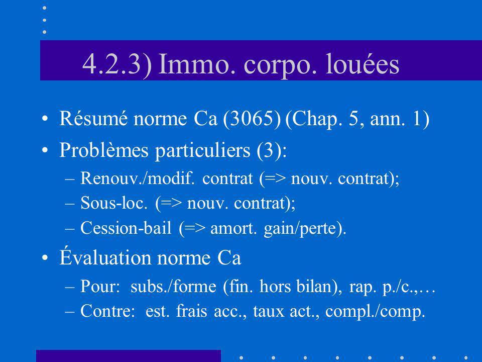 4.2.3) Immo. corpo. louées Résumé norme Ca (3065) (Chap. 5, ann. 1) Problèmes particuliers (3): –Renouv./modif. contrat (=> nouv. contrat); –Sous-loc.
