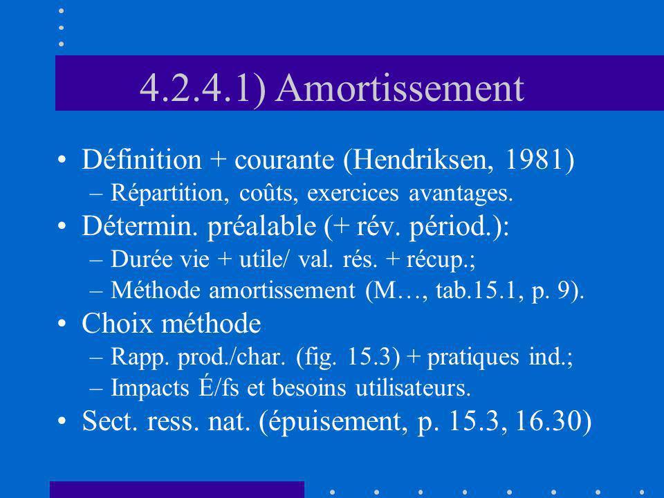 4.2.4.1) Amortissement Définition + courante (Hendriksen, 1981) –Répartition, coûts, exercices avantages. Détermin. préalable (+ rév. périod.): –Durée
