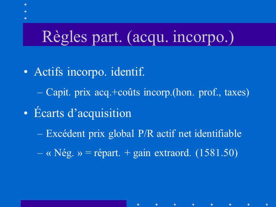 Règles part. (acqu. incorpo.) Actifs incorpo. identif. –Capit. prix acq.+coûts incorp.(hon. prof., taxes) Écarts dacquisition –Excédent prix global P/