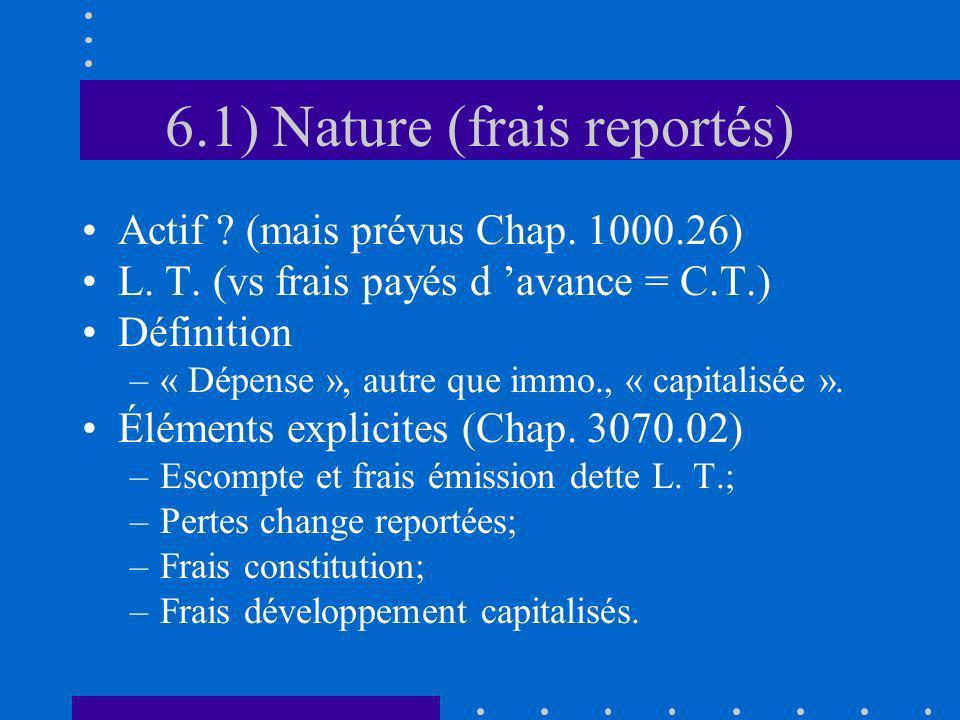 6.1) Nature (frais reportés) Actif ? (mais prévus Chap. 1000.26) L. T. (vs frais payés d avance = C.T.) Définition –« Dépense », autre que immo., « ca