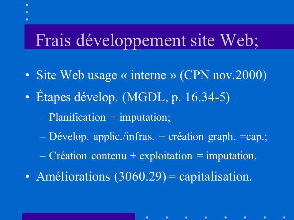 Frais développement site Web; Site Web usage « interne » (CPN nov.2000) Étapes dévelop. (MGDL, p. 16.34-5) –Planification = imputation; –Dévelop. appl