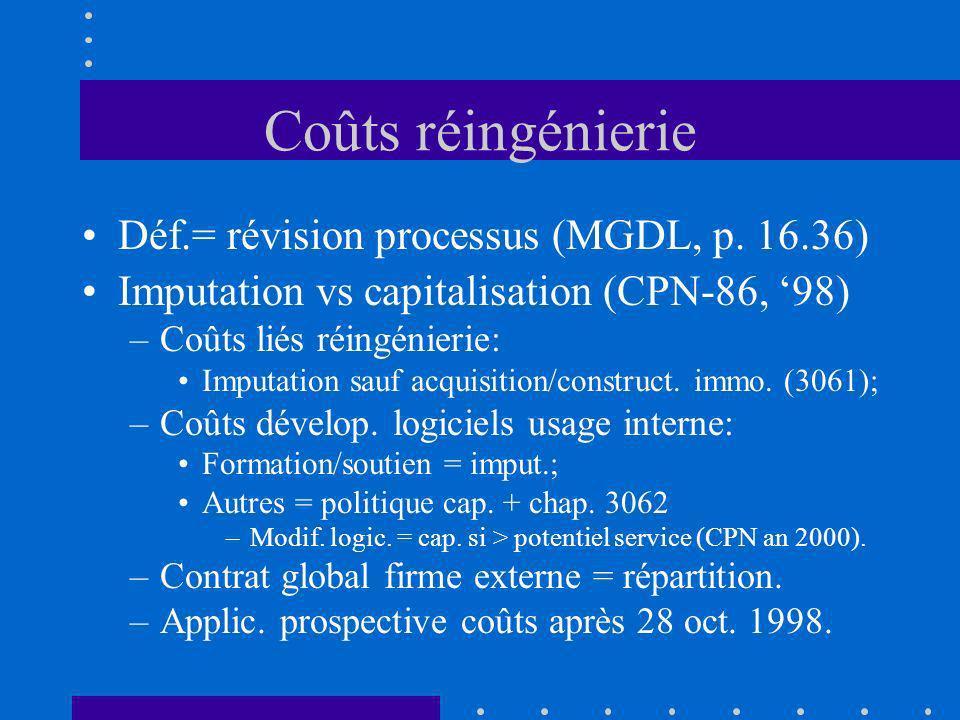 Coûts réingénierie Déf.= révision processus (MGDL, p. 16.36) Imputation vs capitalisation (CPN-86, 98) –Coûts liés réingénierie: Imputation sauf acqui