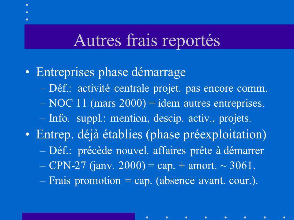 Autres frais reportés Entreprises phase démarrage –Déf.: activité centrale projet. pas encore comm. –NOC 11 (mars 2000) = idem autres entreprises. –In