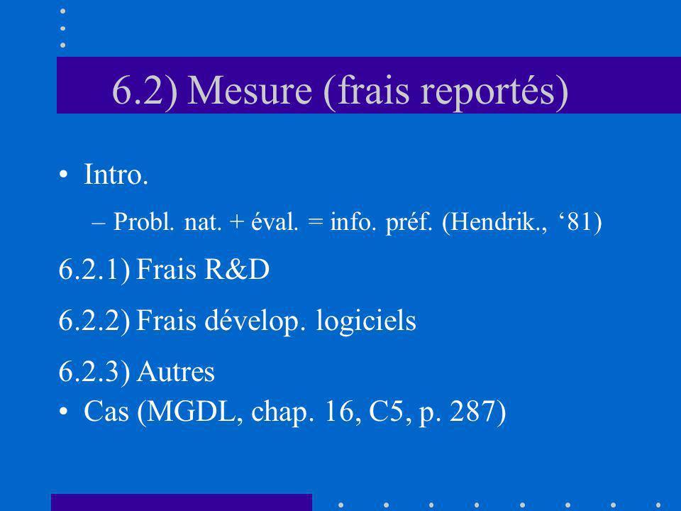 6.2) Mesure (frais reportés) Intro. –Probl. nat. + éval. = info. préf. (Hendrik., 81) 6.2.1) Frais R&D 6.2.2) Frais dévelop. logiciels 6.2.3) Autres C