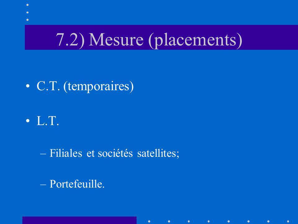 7.2) Mesure (placements) C.T. (temporaires) L.T. –Filiales et sociétés satellites; –Portefeuille.