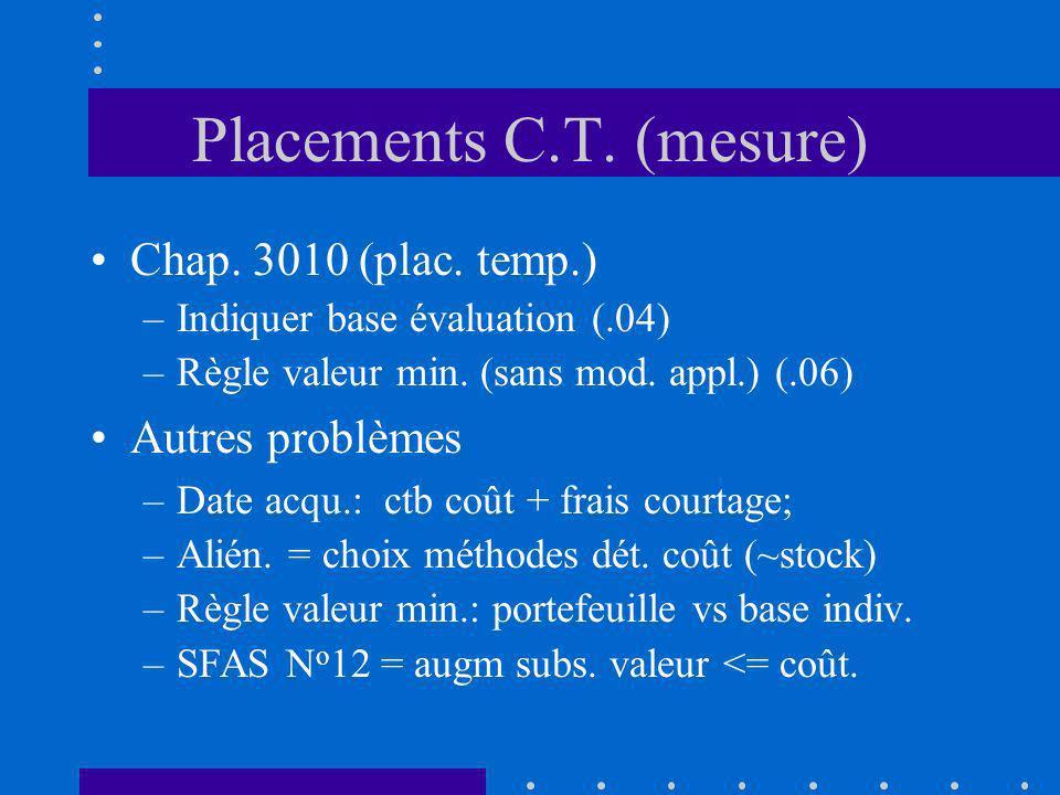 Placements C.T. (mesure) Chap. 3010 (plac. temp.) –Indiquer base évaluation (.04) –Règle valeur min. (sans mod. appl.) (.06) Autres problèmes –Date ac