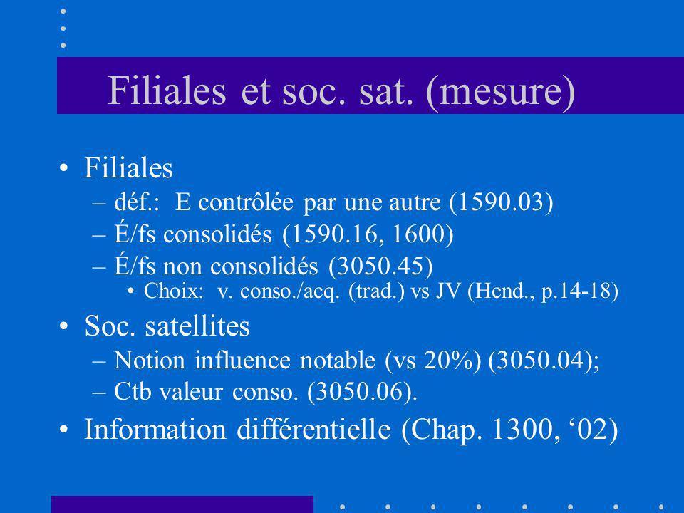 Filiales et soc. sat. (mesure) Filiales –déf.: E contrôlée par une autre (1590.03) –É/fs consolidés (1590.16, 1600) –É/fs non consolidés (3050.45) Cho