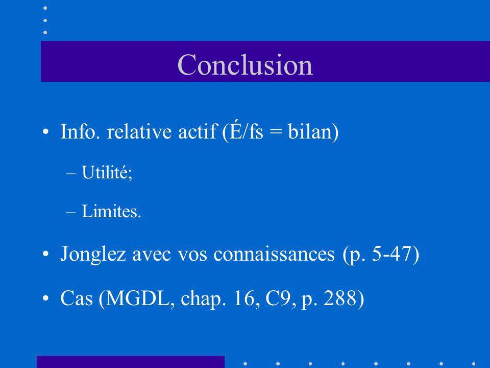 Conclusion Info. relative actif (É/fs = bilan) –Utilité; –Limites. Jonglez avec vos connaissances (p. 5-47) Cas (MGDL, chap. 16, C9, p. 288)