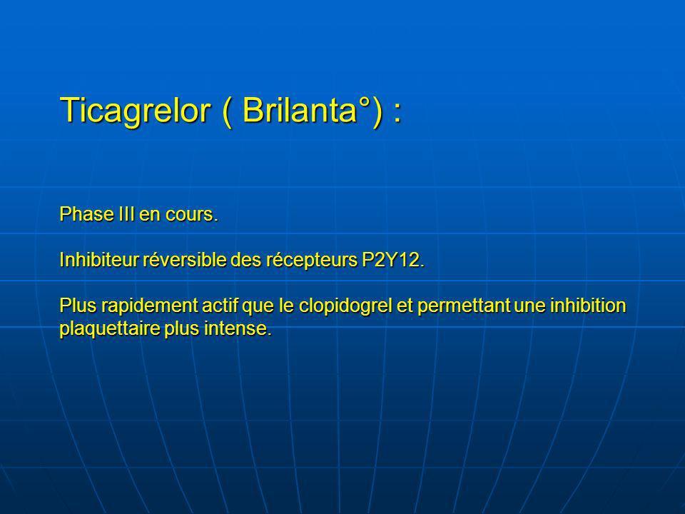 Ticagrelor ( Brilanta°) : Phase III en cours. Inhibiteur réversible des récepteurs P2Y12. Plus rapidement actif que le clopidogrel et permettant une i