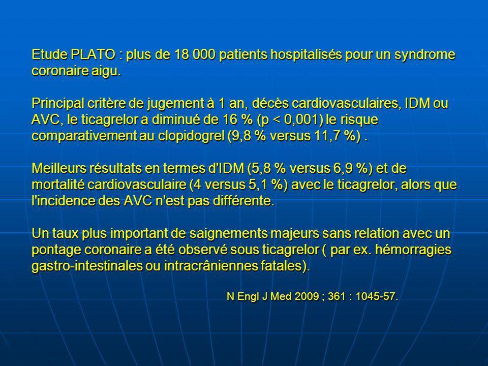 Etude PLATO : plus de 18 000 patients hospitalisés pour un syndrome coronaire aigu. Principal critère de jugement à 1 an, décès cardiovasculaires, IDM