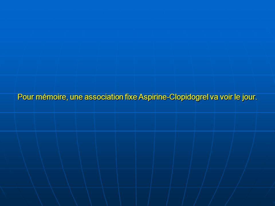 Pour mémoire, une association fixe Aspirine-Clopidogrel va voir le jour.