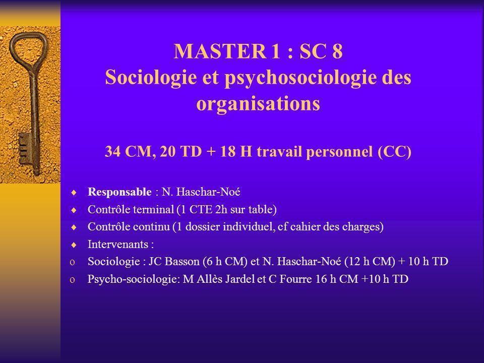 MASTER 1 : SC 8 Sociologie et psychosociologie des organisations 34 CM, 20 TD + 18 H travail personnel (CC) Responsable : N. Haschar-Noé Contrôle term