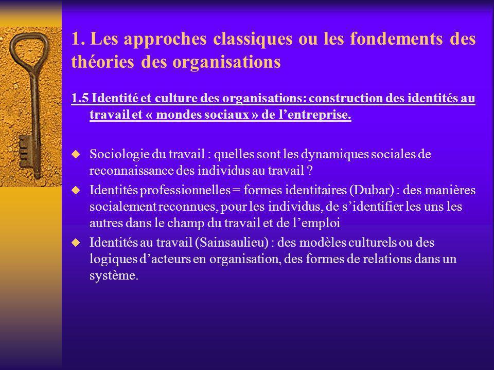 1. Les approches classiques ou les fondements des théories des organisations 1.5 Identité et culture des organisations: construction des identités au
