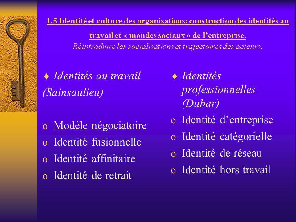 1.5 Identité et culture des organisations: construction des identités au travail et « mondes sociaux » de lentreprise. Réintroduire les socialisations
