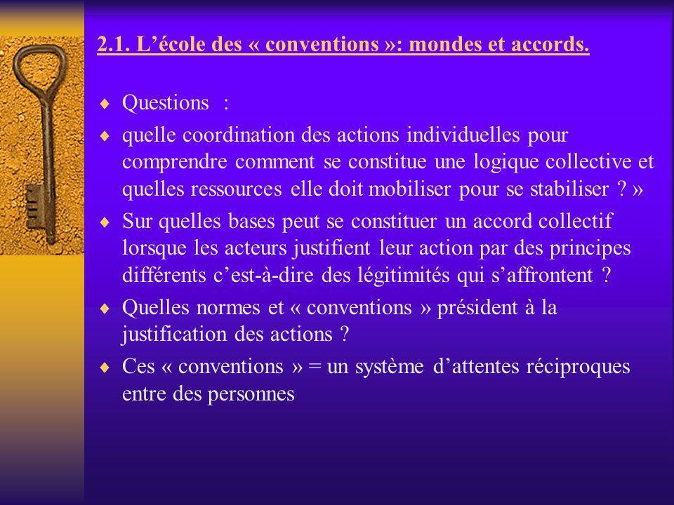 2.1. Lécole des « conventions »: mondes et accords. Questions : quelle coordination des actions individuelles pour comprendre comment se constitue une
