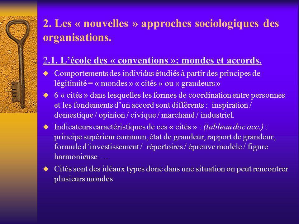 2. Les « nouvelles » approches sociologiques des organisations. 2.1. Lécole des « conventions »: mondes et accords. Comportements des individus étudié