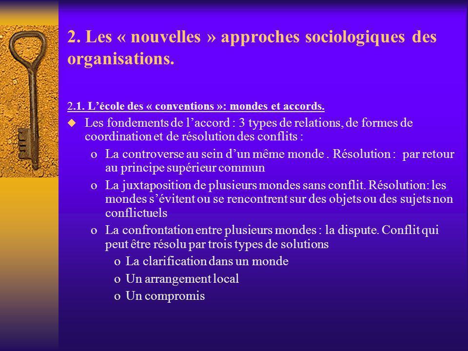2. Les « nouvelles » approches sociologiques des organisations. 2.1. Lécole des « conventions »: mondes et accords. Les fondements de laccord : 3 type